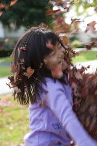 playing in leaf pile fall
