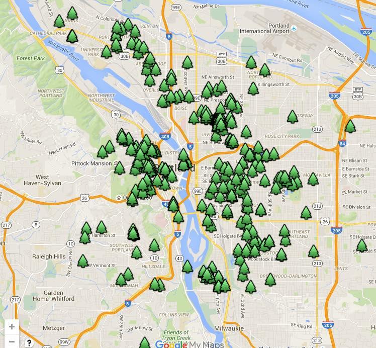 Portland Heritage Tree Map
